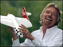 Richard Branson and model of spaceliner