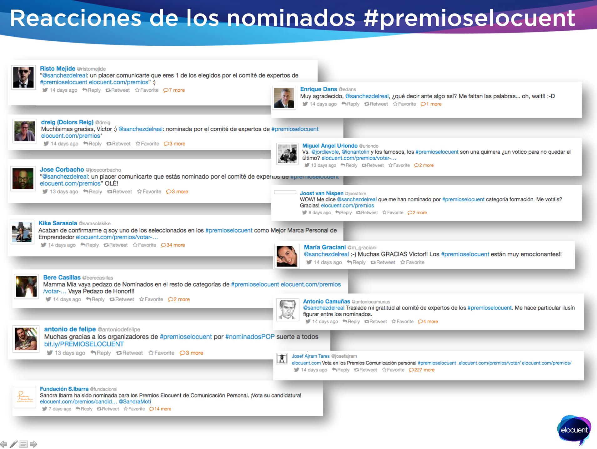 reacciones nominados  a premios elocuent a mejor marca personal