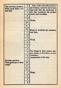 La rutina diaria de Benjamin Franklin