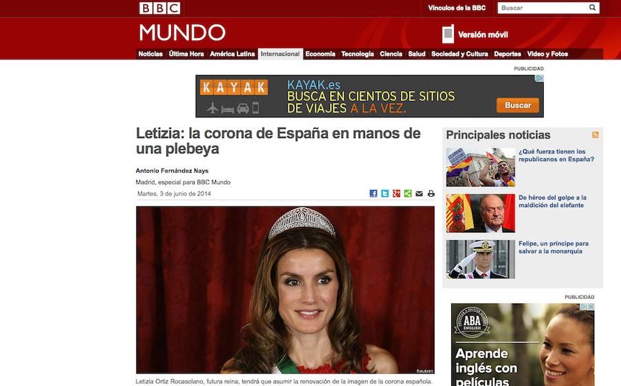 Reina Letizia imagen Rey Felipe VI BBC Noticias plebeya elocuent marca personal
